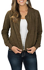 Another Love Women's Olive Faux Suede Bomber Jacket