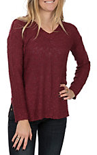 Another Love Women's Wine Darek V-Neck Sweater