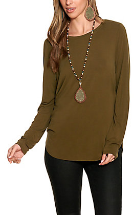 Another Love Women's Olive Long Sleeve Top