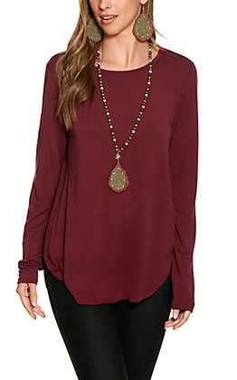 Another Love Women's Burgundy Long Sleeve Top