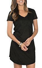 Another Love Black Faux Suede Cassidy Shirt Dress
