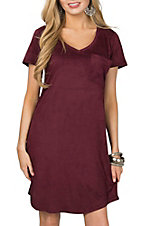 Another Love Burgundy Faux Suede Cassidy Shirt Dress