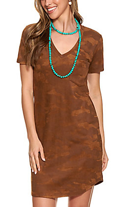 Another Love Women's Chocolate Camo Faux Suede Dress