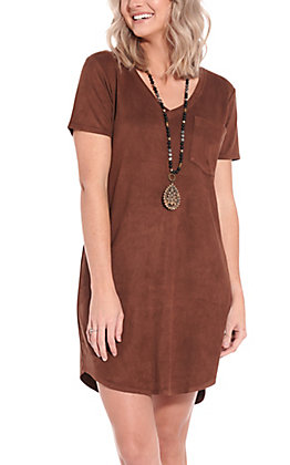 Another Love Women's Cassidy Chocolate Suede Pocket Short Sleeve Dress