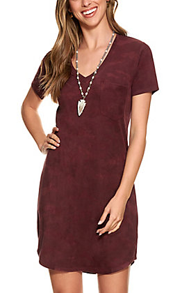 Another Love Women's Burgundy Camo Faux Suede Dress