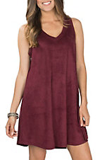 Another Love Women's Burgundy Jane Suede Dress