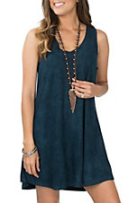 Another Love Women's Dark Teal Jane Suede Dress