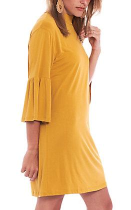 Another Love Women's Mustard Mock Turtle Neck Dress