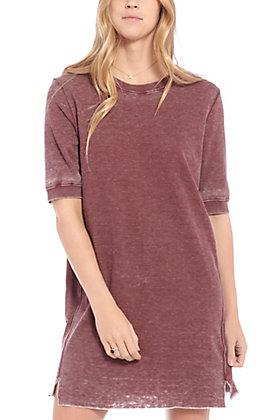 Another Love Women's Plum Short Sleeve Knit Dress