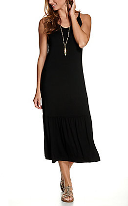 Another Love Women's Solid Black Sleeveless Maxi Dress