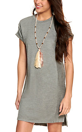 Another Love Women's Heather Grey Short Sleeve Knit Dress