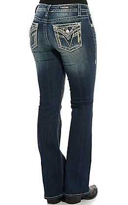 Vigoss Women's Kendra Faux Flap Boot Cut Jeans