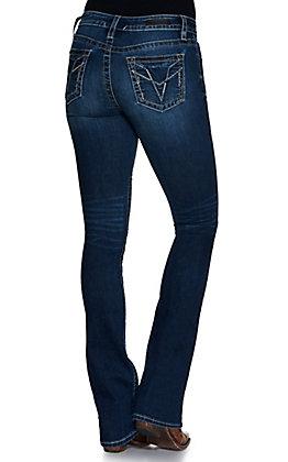 Vigoss Women's Stella Dark Wash with Simple Stitch Stretch Slim Boot Cut Jeans