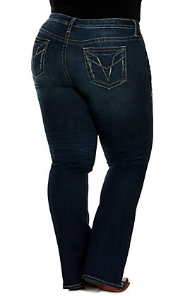 Vigoss Women's Stella Dark Wash with Simple Stitch Stretch Slim Boot Cut Jeans - Plus Sizes