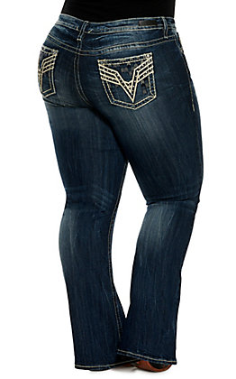 Vigoss Women's Stella Medium Wash Chevron Embroidery with Leather Overlay Stretch Slim Boot Cut Jeans - Plus Sizes