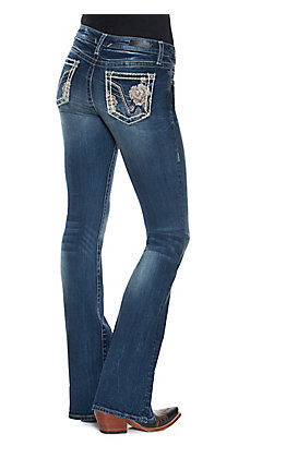 Vigoss Women's Medium Wash with White and Rose Gold Cross Stitch Rose Embroidery Boot Cut Jean