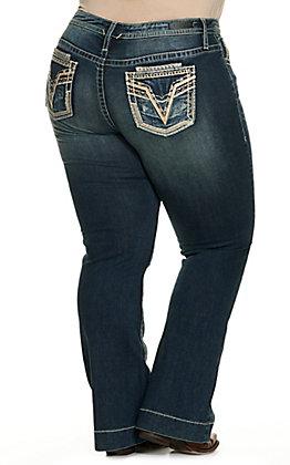 Vigoss Women's Dark Wash Mid Rise Boot Cut Jeans - Plus Size