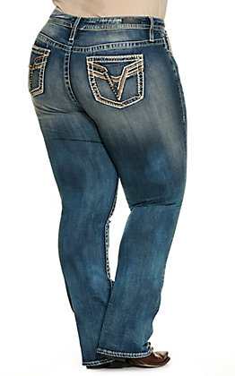 Vigoss Women's Stella Rose Gold Embellished Pockets Med Wash Mid Rise Boot Cut Jeans - Plus Size