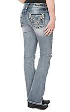 Vigoss Women's Chelsea Light Wash Embroidered V Stitch Pocket Boot Cut Jeans