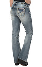 Vigoss Women's White Wash Embroidered V Stitch Pocket Dublin Boot Cut Jeans