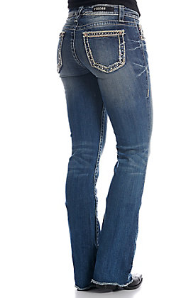 Vigoss Women's Medium Wash Chelsea Classic Fit Boot Cut Jeans