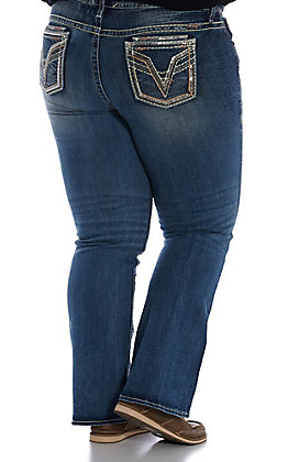 Vigoss Women's Medium Wash V Stitch Sequin Dublin Boot Cut Jeans - Plus Size