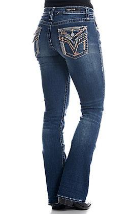 Vigoss Women's Dark Wash V Stitch Button Flap Stella Classic Fit Slim Boot Jeans