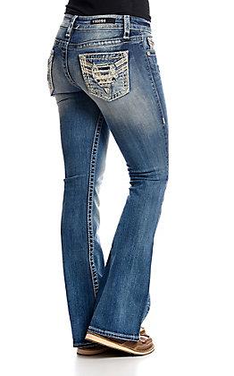 Vigoss Women's Light Wash V Stitch Kendra Classic Fit Boot Cut Jeans
