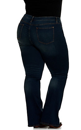 "Vigoss Women's Jagger Dark Wash Basic 34"" Inseam Boot Cut Jean - Plus Size"