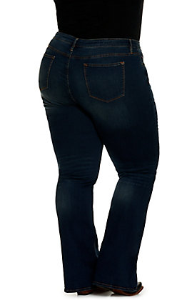 "Vigoss Women's Jagger Dark Wash Basic 36"" Inseam Boot Cut Jean - Plus Size"