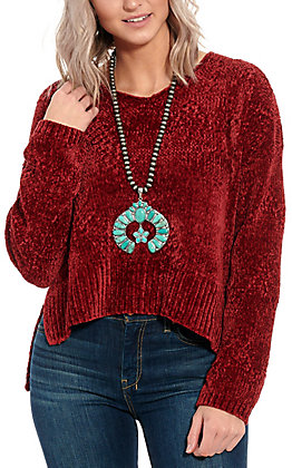 Another Love Women's Cherry Hi-Lo Sweater