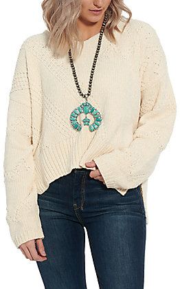 Another Love Women's Ivory Hi-Lo Sweater