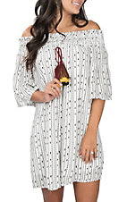 Berry N Cream Women's Off the Shoulder White and Black Print Tassel Dress