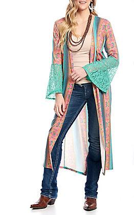Crazy Train Women's Turquoise Serape Lace Bell Sleeve Duster Kimono