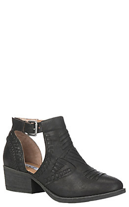 Very G Women's Black Woven Bistro Buckle Bootie