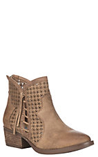 Very G Women's Tan Cut Out Details Round Toe Booties