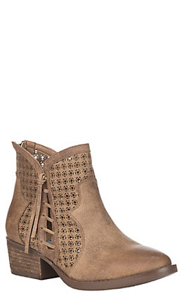 Very G Women's Tan Faux Leather Cut Out Details Round Toe Booties