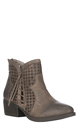 Very G Women's Taupe Cut Out Details Round Toe Booties