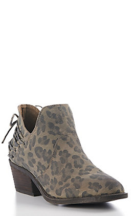 Very G Women's Grey Leopard Print Faux Leather Round Toe Booties