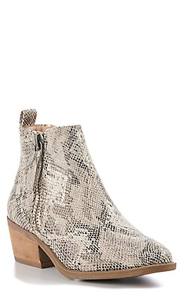 Very G Women's Snake Print Faux Leather Round Toe Booties