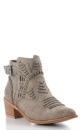 Very G Women's Grey Faux Leather Tribal Round Toe Booties