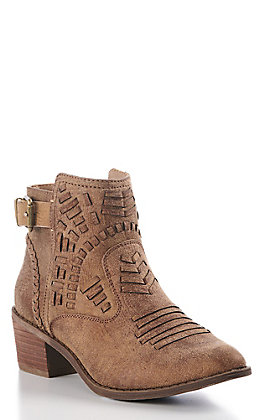 Very G Women's Tan Faux Leather Tribal Round Toe Booties