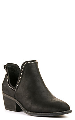 Very G Women's Megan Black with Studs V-Cut Round Toe Booties
