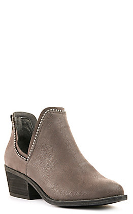 Very G Women's Megan Grey with Studs V-Cut Round Toe Booties