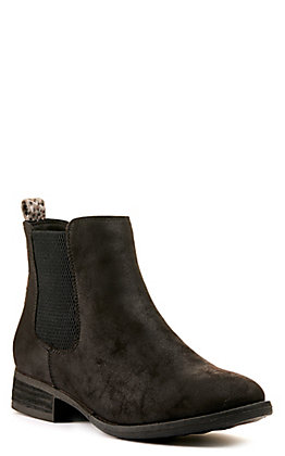 Very G Women's Blake Black with Leopard Accent Round Toe Bootie