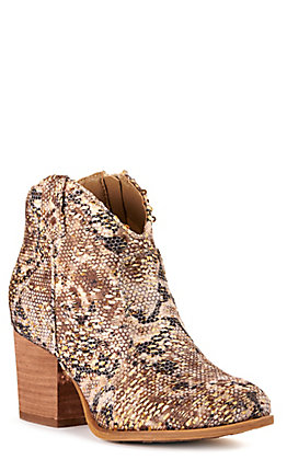 Very G Women's Rocker Tan Python Print with Gold Sequins Round Toe Booties