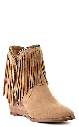Very G Women's Wendy Tan with Fringe and Zipper Detail Wedge Bootie