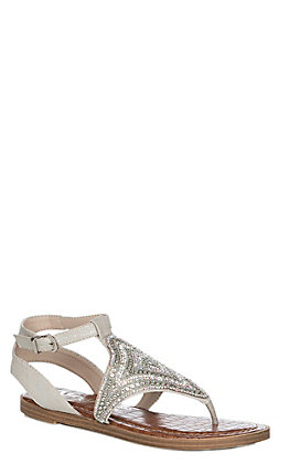 Very G Women's Silver Sparkle Studded Ankle Strap Sandals