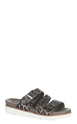 Very G Women's Grey Cheetah Print Buckle Sandals