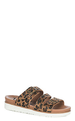 Very G Women's Tan Cheetah Print Buckle Sandals
